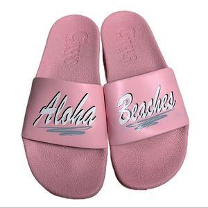 Sam Edelman pink Aloha Hawaii slides